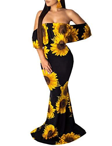 Women's Sexy Off Shoulder Maxi Dress Hawaiian Floral Evening Gown Sunflower Maxi Dress