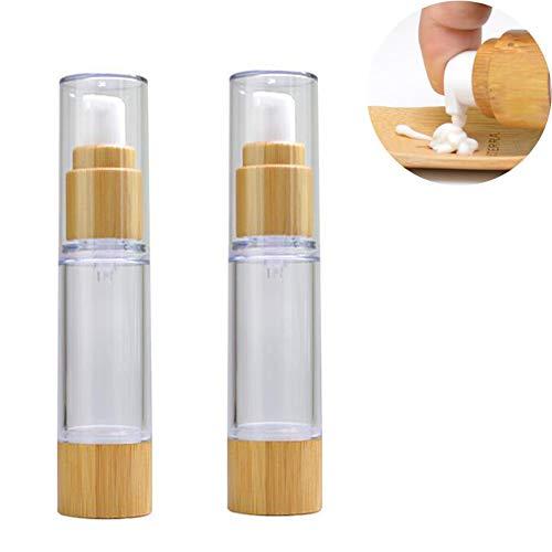 2 uds 100ml Botella de Bomba de plástico Transparente vacía con Tapa de bambú dispensador de loción contenedor de Maquillaje