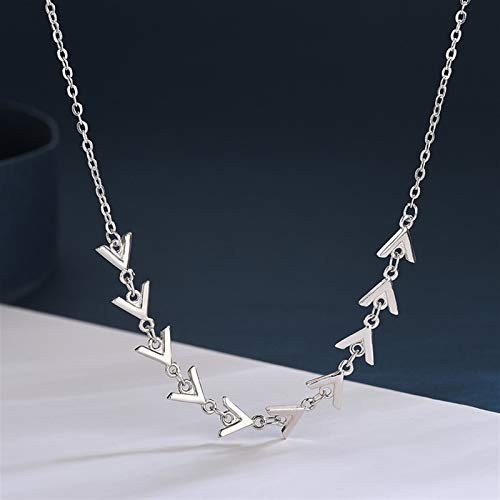 CNZXCO Joker Chain, Choker Collar, S925 Silvered Chocker Necklace, Triangular Herringbone Necklace For Women (Color : Gold)