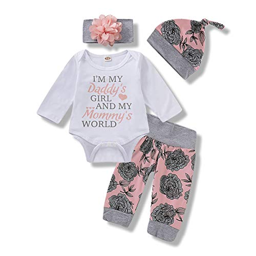 Toddler Baby Girl Clothes Long Sleeve Fall Outfit Daddys Little Girl Baby Clothes Letter Printing Top Infant Rose Pant Set 3-6 Months Winter