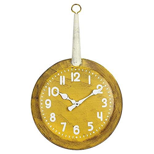AIOJY Nórdico Creativo Retro Idílico Plano Pote Hierro Reloj De Pared Arte Moderno Arte Digital Metal Silencioso Reloj De Pared
