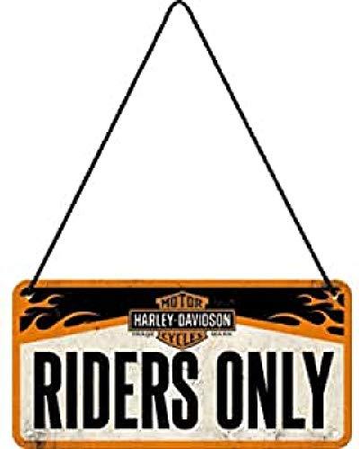 Nostalgic-Art Cartel Colgante Retro Harley-Davidson – Riders Only – Idea de Regalo para Motociclistas, metálico, Diseño Vintage, 10 x 20 cm