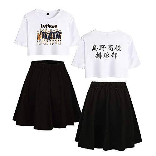 Haikyuu !! TO The Top Traje de Falda Corta Anime Ombligo Expuesto Camiseta Lumbar del Verano De 2 Unidades Trajes Falda+Blusas T-Shirt De Los Cultivos Moda Falda Traje Sets