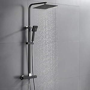Auralum Conjunto de Ducha Termostática Negro Diseño Moderno, Bañera Termostática Grifo de Ducha Cuarto de Baño Cuarto de Baño