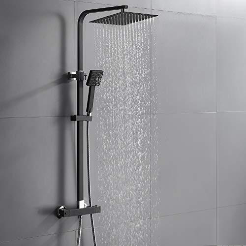 Auralum 2 Funktionen Duschsystem mit Thermostat, Schwarz Duschset 25 x 25 cm Regendusche inkl. Kopfbrause, Handbrause, verstellbarer Duschstange, Duscharmatur Dusche Duschgarnitur Duschsäule