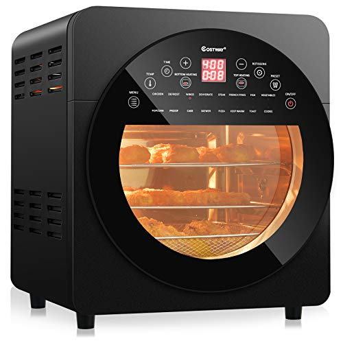 COSTWAY 15.5 QT Air Fryer Oven, 16-in-1 Convection Air Fryer with 16 Cooking Presets Rotisserie Dehydrator Roast Bake Broil, Oil-Free Countertop Oven with Timer Temperature Control and 8 Accessories (Gray)