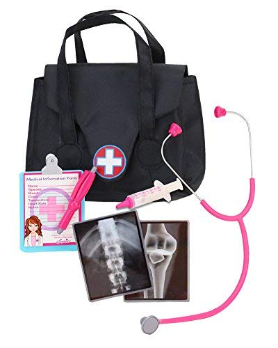Sophias 18 Inch Doll Sized Medical Bag & Doll Accessories | Dr Nurse Doll Set of Stethoscope, X-Rays, Syringe, Clipboard, Pen & Doctor Bag - 18 inch Dolls, Perfect for American Girl Dolls & More!