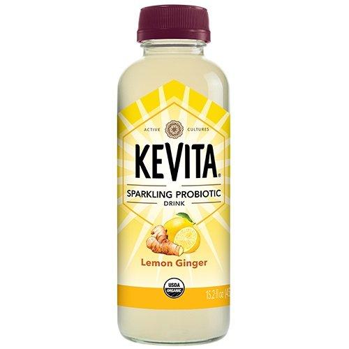 KEVITA Lemon Ginger Sparkling Probiotic, 15.2 Ounce (Pack of 6)