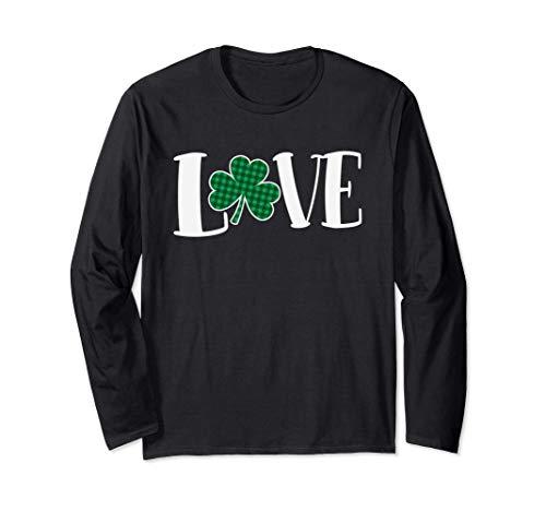 Love Green Buffalo Plaid Clover St. Patty's Day Manche Longue