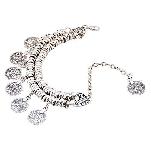 Bracelets for Womens Metal Coin Tassel Bracelet Bracelet Ankle Bracelet Dual Use Personalised Romantic Valentine's Day Present Birthday Christmas Graduation Gifts(One Size,Silver)