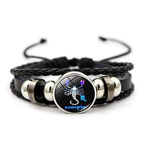 ZhuoXun Constellation Accessories Twelve Constellations time gems Fashion Creative Leather Braided Beaded Bracelet (Scorpio)