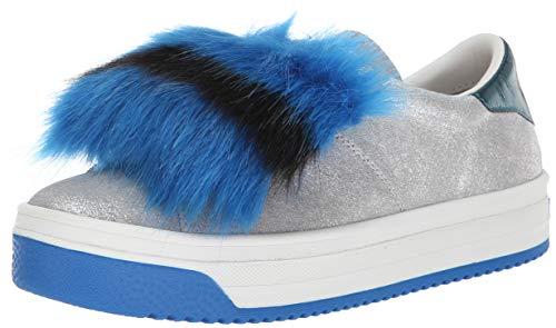 Marc Jacobs Women's Empire Color Sole Sneaker with Faux Fur, Silver/Multi, 38 M EU (8 US)