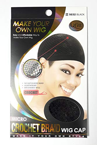 Qfitt Make Your Own Wig Micro Crochet Braid Wig Cap #5032, Black