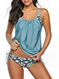 Century Star Women's Two Piece Tankini Swimsuit Floral Tank Top Bikinis Padded Swimwear With Boyshorts Blue Green Large (fits like US 8-10)