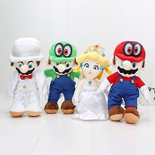 JIAL Stofftier 4 Stück/Set Super Odyssey Das Brautkleid Bräutigam Kostüm Mario Prinzessin Pfirsich Cappy Katze Plüschtier Puppe Chongxiang