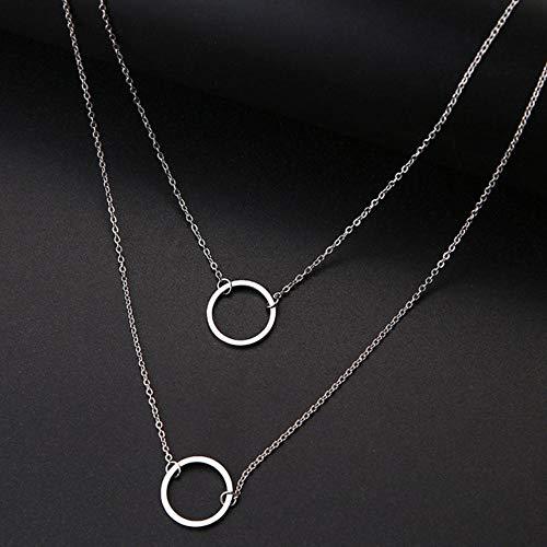 EDCV dames dubbele ronde geometrische hanger ketting roestvrij staal gouden en zilveren sieraden, zilver