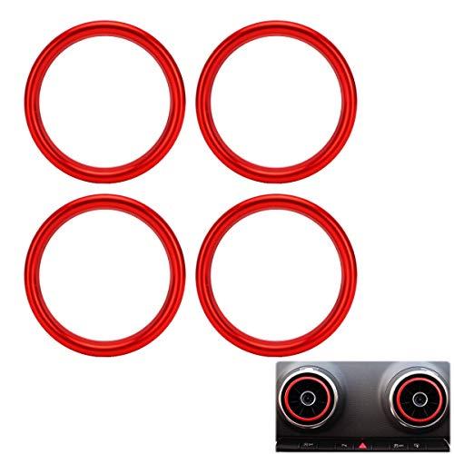 MARCHFA Auto Styling Klimaanlage Belüftung Aluminiumlegierung Ring Dekoration Aufkleber Packung mit 4 Stück (Rot)
