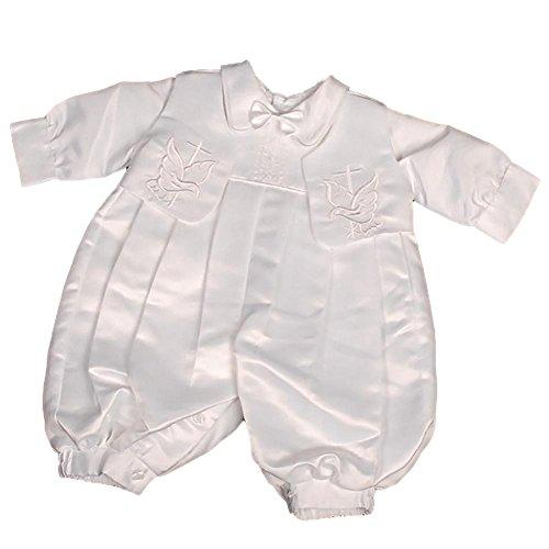Lito Angels Baby Jungen Stickerei Kreuz Satin Taufe Spielanzug Spielanzug Formale Anzug Mit Hut Säugling Gr. 0-3 Monate Weiß