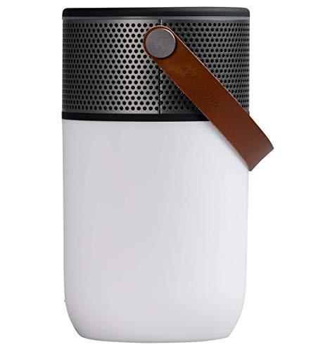 KREAFUNK Aglow Bluetooth-Lautsprecher mit Taschenlampe und Wecker, dänisches Design, Schwarz