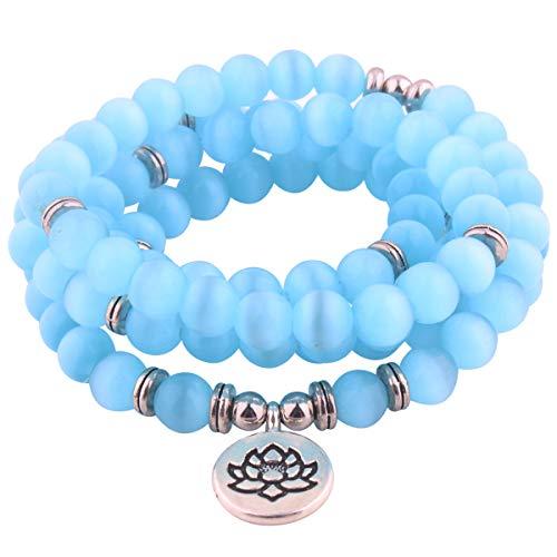 GVUSMIL 8mm 108 Mala Perlen Wickelarmband Halskette zum Yoga Charme Armband Natürlich Edelstein Schmuck zum Frauen Männer
