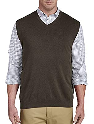 Harbor Bay by DXL Big and Tall V-Neck Sweater Vest, Black Coffee Heather, 6XL by DXL