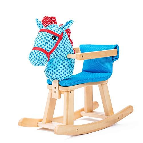 Xyanzi-Cheval à Bascule Bébé Cheval à Bascule Kid Rocker Toddler Rocking Chair Enfant Rocking Animal avec Coussin Respirant Peut Être Démonté pour Tout-Petit Bébé 1-3 Ans (Color : Blue)