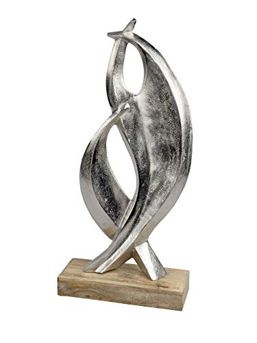 dekojohnson modernes Wohnaccessoire Kunstobjekt auf Sockel Skulptur Statue Dekofigur Wohndeko Zimmerdeko antik Silber aus Alu und Mangoholz 53cm groß