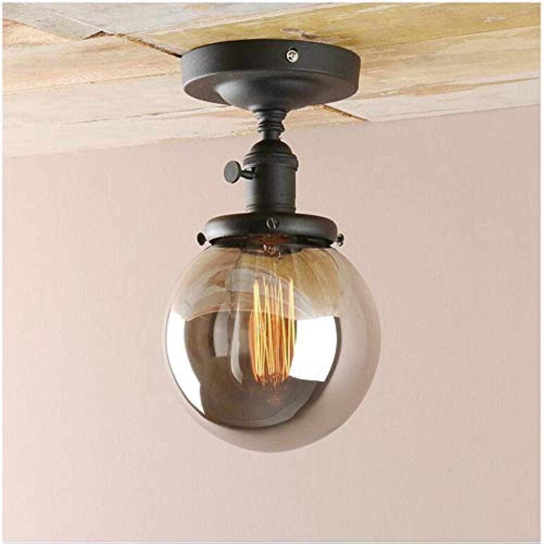 Retro Lichtretro Smoke grau Globe Glasdeckenbeleuchtung, die Lichthalterung verfügt über einen einfachen Drehschalter. Perfekt für Küche, Esszimmer, Café, Bar, Club usw. (Schwarz)