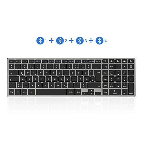 seenda Bluetooth Tastatur mit 4 Bluetooth Kanälen, Ultraslim Wiederaufladbare Aluminium Kabellose Tastatur, Full-Size QWERTZ Funktastatur für Windows PC/Laptop/Tablet, Space Grauace Grau
