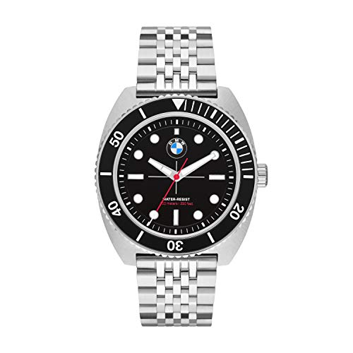BMW Motorsport Reloj de Cuarzo para Hombre con Correa de Acero Inoxidable | Resistente al Agua 10 ATM (Plateado)
