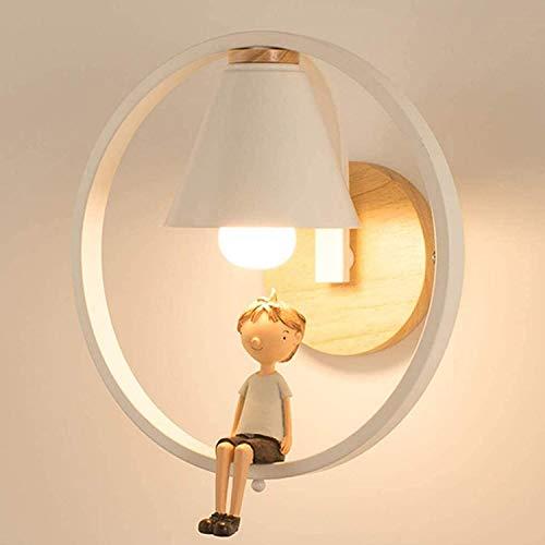Anillo redondo creativo niños moderno pared luz pared lámpara pared lámpara de pared escaleras de café decorativo iluminación princesa dormitorio noche lámpara de cama habitación de niños niño