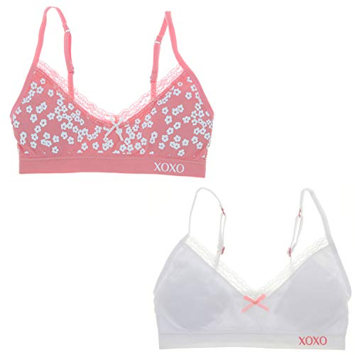 XOXO Girl Super Soft Training Bra Set with Removable Pads (2 Bras) (34/L, Pink Flowers, White)