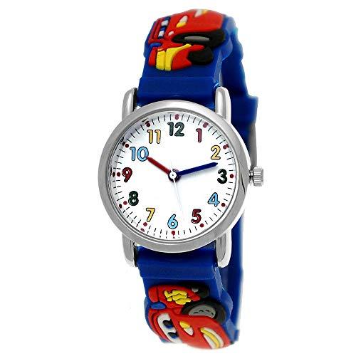 Kinder Autos Cars Kinder Uhr Jungenuhr Mädchenuhr Auto Rennauto Armbanduhr Silikon Armband Junge Kinderuhr Schwarz Helblau Blau Rot Orange Grün Sport-Uhr Lern-Uhr 3D (Blau - Blue)