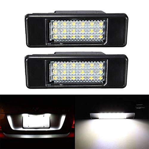 GOFORJUMP 2pcs lumière de Plaque arrière de Voiture arrière LED Blanche pour P/eugeot 106 1007 207 307 308 3008 406 407 508 806 Citroen C2 C3 C4 C5 C6 DS3