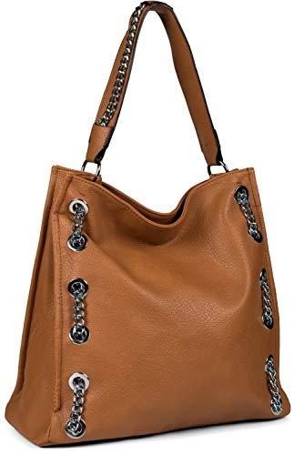 styleBREAKER Damen Hobo Bag Handtasche mit Ketten Applikation, Shopper, Schultertasche, Tasche 02012339, Farbe:Camel