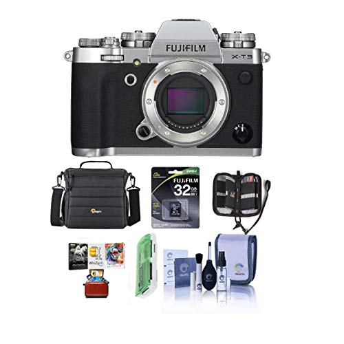 Fujifilm X-T3 Mirrorless Camera Body, Silver - Bundle with 32GB SDHC U3 Card, Camera Case, Cleaning Kit, Memory Wallet, Card Reader, Mac Software Package