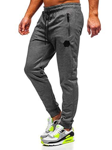 BOLF Herren Jogginghose Sporthose Trainingshose Jogger Sweathose Fitnesshose Jogpants Fußballhose Sweatpants Beinabschluss Pants Baumwolle Slim Fit Must JX8203 Dunkelgrau M [6F6]