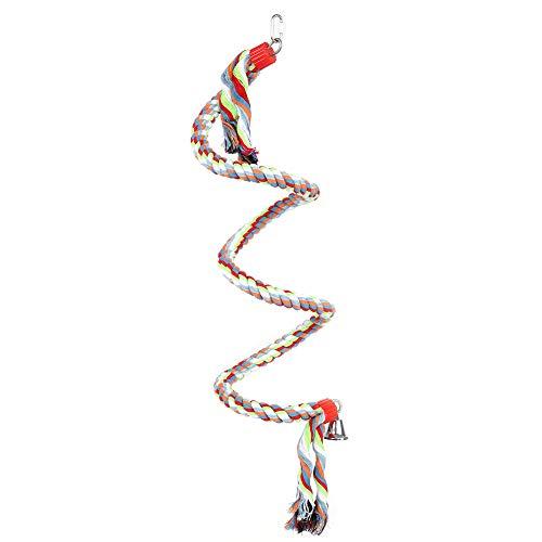 Hffheer Pappagallo Arrampicata Corda Uccello Spirale Corda Persico Grande Gabbia per pappagalli Giocattolo per pappagalli Medio Grandi Piccoli 1,6 Metri