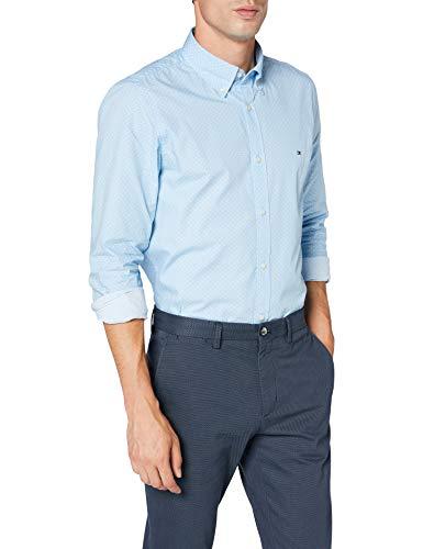 Tommy Hilfiger Slim DOT Print Shirt Camicia, Blu (Clear Blue), X-Small Uomo