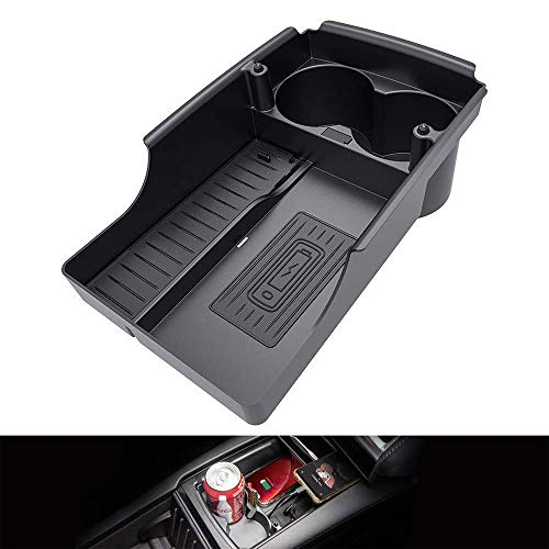 L&U T-Box Center Console Wireless-Qi Phone Charger Organizer Box mit Becherhalter und Ladekabel für Tesla Model X und 2016-2019 Model S