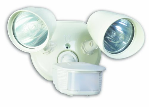 Designers Edge L6010WH L-6010Wh Twin Head Motion Activated Flood Light, 120 V, 200 W, Halogen, Bi-Pin, 100 W, Watt, White
