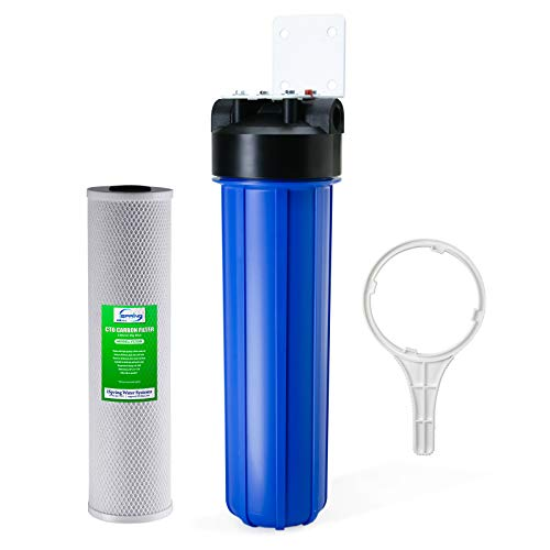"iSpring WGB12B 1-Stage Whole House Water Filtration System w/ 20"" x 4.5"" Big Blue Carbon Block Filter - Reduces up to 99% Chlorine"