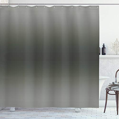 OMBRE Duschvorhang von ambesonne, rauch Nebel Mist Thema inspiriert grau Farbe Modernes Design Zimmerdekoration Digital bedruckt, Stoff Badezimmer Decor-Set mit Haken, 177,8cm, schwarz grau