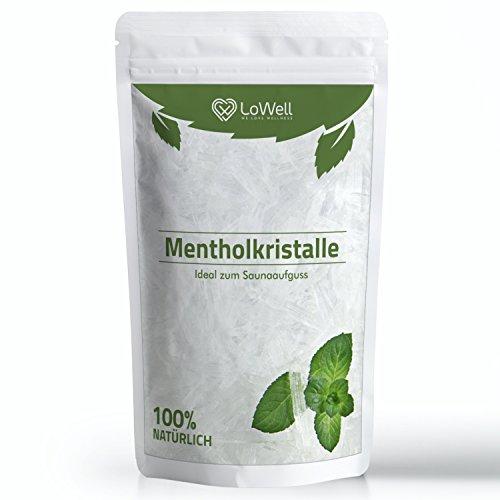 LoWell® 100g de cristales de mentol 100% de menta pura - Ideal como infusión para sauna - Envasados en un bolsa con autocierre - Mentol