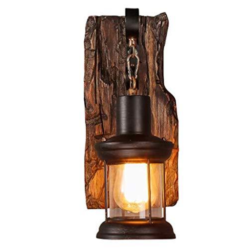 Holz Retro Lichter Rustikale Wohnzimmer Wandlampe EZ7 LED Lampe Wandleuchte Schlafzimmerwand Einfach Kreativ Vintage Antik Glas Lampenschirm Nostalgie Innen Loft Zimme Design Leuchte,A