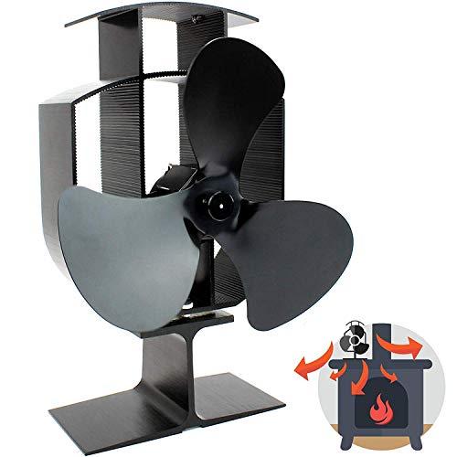 Feketden Kaminventilator, Lüfter für 3-flügeligen Wärmeofen, leiser Betrieb, Holz- und Holzbrenner, effizienter Wärmeumlauf, ökologisch