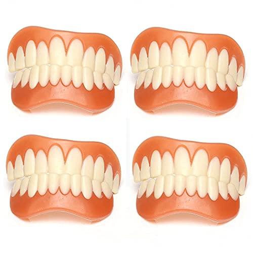 ZYOLLO Dientes cosméticos Carillas Dentales CosméTicos Flexibles Los Dientes De La Sonrisa De Silicona Se Encajan En Las De La Superior Inferior Segura,4 Pairs