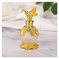 AFTWLKJ アラビア語ゴールド蝶の香水瓶空のグラス詰め替えエッセンシャルオイルアターコンテナホームの結婚式の装飾のギフト (Color : Yellow, Material : Glass)