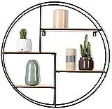Intimo Living - Étagère Murale Ronde avec 4 Tablettes - Bois et Fil métal Noir - Style Moderne et géométrique pour Chambre, Salon, séjour, Cuisine, Salle de Bain - Livrée montée