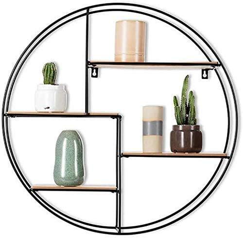 Schwarzes Industrial Wandregal aus Holz und Metall - Edles, rundes Regal für die Wand für Bücher, Deko, Küche und Badezimmer - 55 x 11 cm Hängeregal - Schweberegal (1er Pack 55 x 55 x 11 cm)